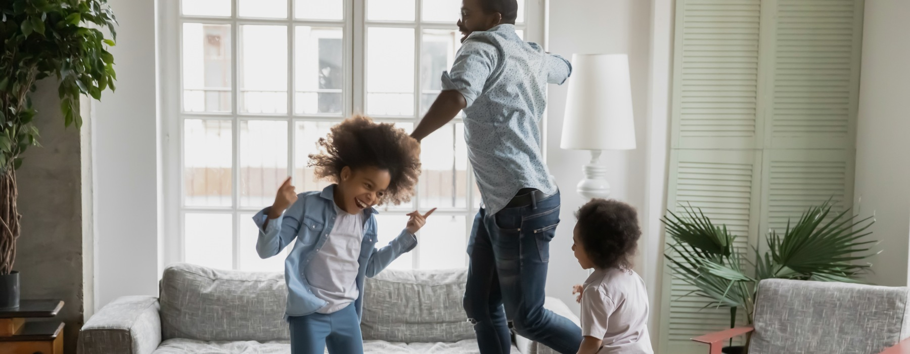 Kids dancing with dad