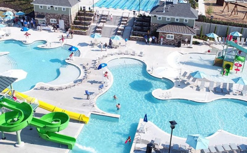 aerial shot of various swimming pools and waterslides throughout the Magnolia Greens community