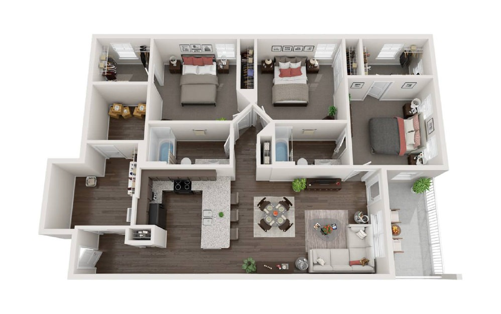 The Chesterfield - 3 bedroom floorplan layout with 2 baths and 1374 square feet.