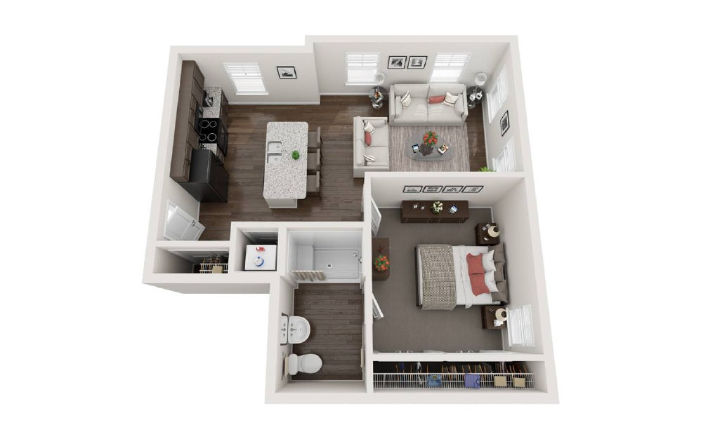 The Danville - 1 bedroom floorplan layout with 1 bath and 609 square feet.